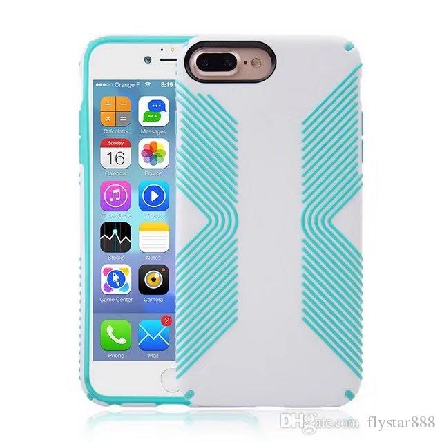 For iphone X 8 plus Case Shockproof Robot Armor Hybrid Rugged Rubber Shell Kickstand Back Case Cover free epacket