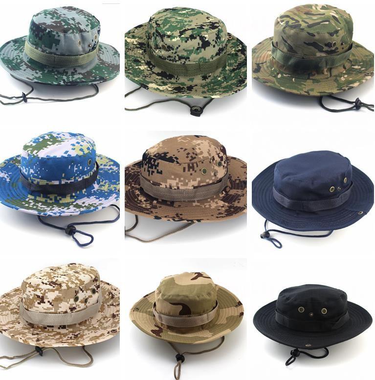 Nuevos Hombres Sombrero de Cubo de Impresión Camuflaje Ala Ancha Sombreros Militares Chin Correa Gorra de Pesca Caza de Caza Protección Solar 26 colores
