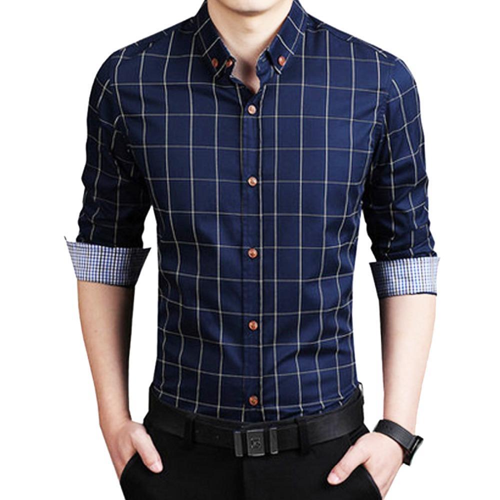 Мужчины рубашки Slim Fit с длинным рукавом повседневная хлопок бизнес рубашки формальные рубашки офис платье для мужчин кнопка вниз