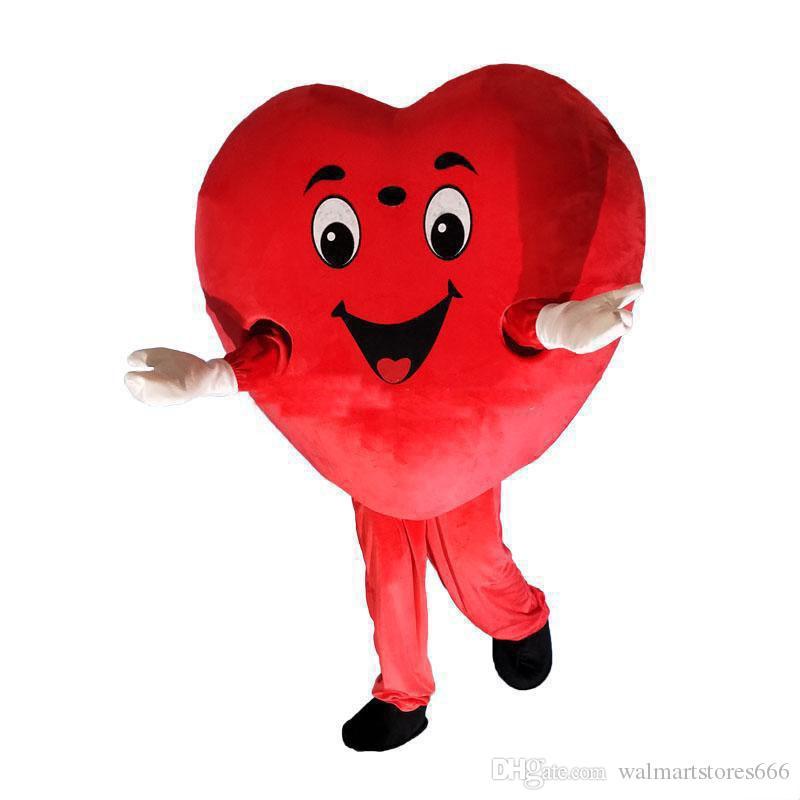 2018 Hot new red heart love mascot costume LOVE heart mascot costume free shipping