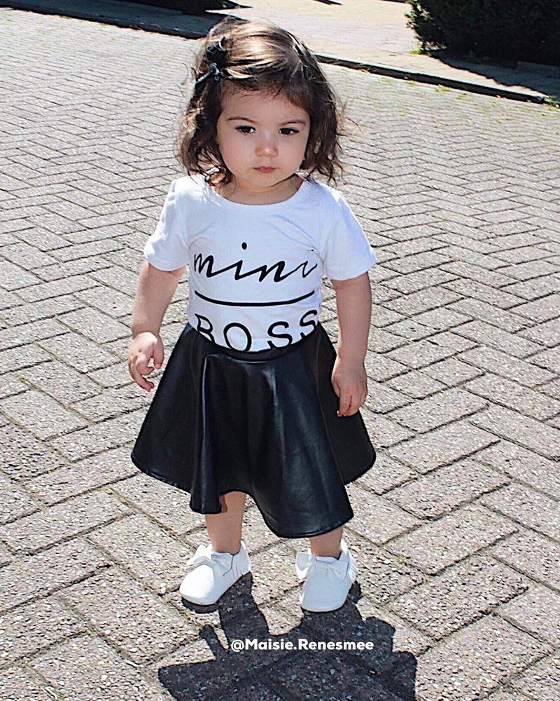 Kids Baby Girls Clothing Sets Fashion Letters Tops+Leather Skirt 2PCS Outfits