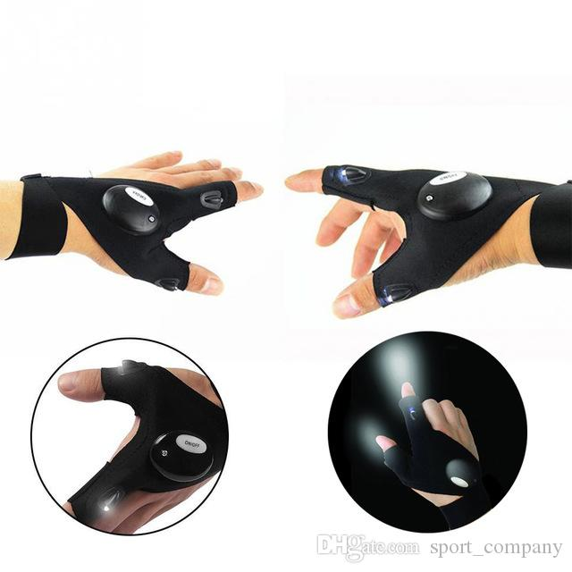 Outdoor Fishing Magic Strap Fingerless Glove LED Torch Breathable Comfortable LED Light Cotton Flashlight Repairing Camp Hiking Rescue Tool