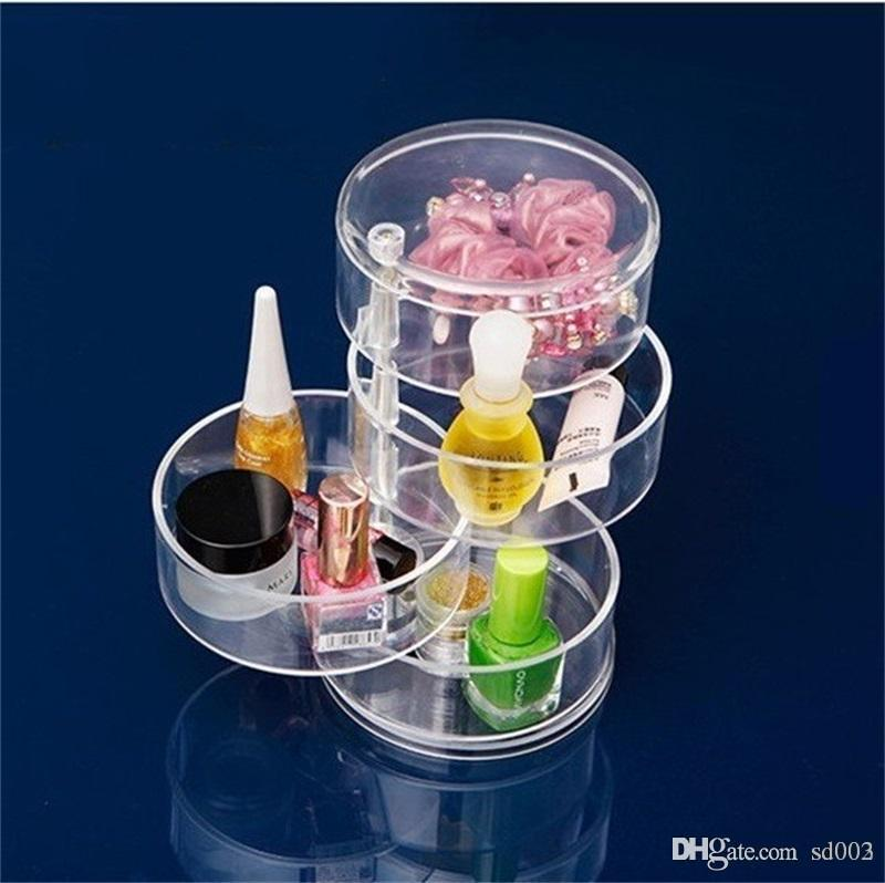 Plastic Dressing Factory Direct Case Bardian New Design Cylindrical 4 Layer Rotate Jewelry Storage Box Hot Sale 17xx dd