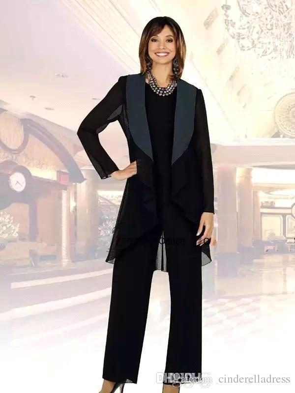 2020 Black Chiffon Mother of the Bride Suits Plus Size Cheap Three Pieces Mother of Bride Groom Pant Suit for Wedding Pant Suit