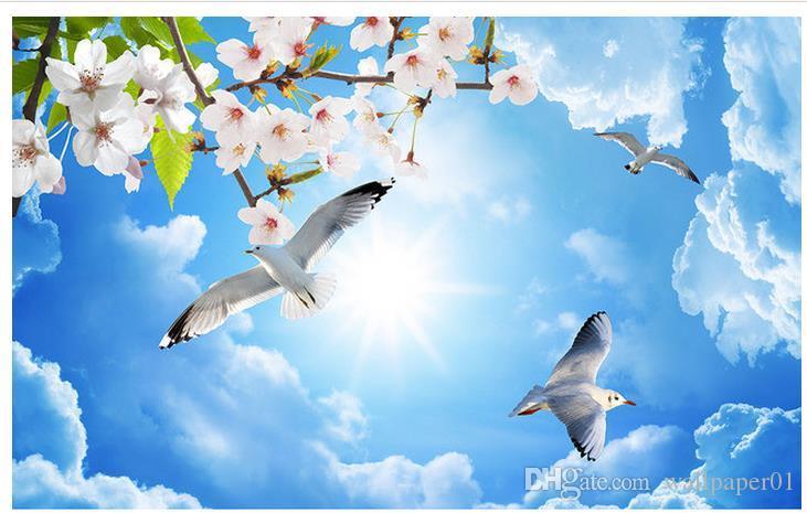 3d tapety ścienne wystrój zdjęcie tło HD Sky Chmury Liście brzoskwiniowe kwiaty Butterfly Pigeon Sufit Zenith Salon Restauracja