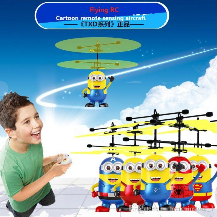 Flying Ball Helicopter RC Flying Ball Drone Helicopter Ball Built-in Shinning LED Lighting Flying Toys for Kids (Cartoon)