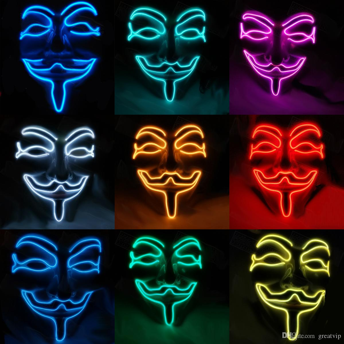 2020 Led V Mask Vendetta Party Fashion Cosplay Costume Guy Fawkes