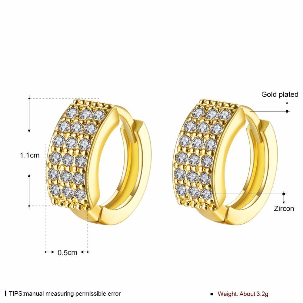 AMOURJOUX Romantico Triple Line Clear Zircone Orecchini a clip color oro lucido per le donne clip alla moda sul polsino dell'orecchio femminile per il partito