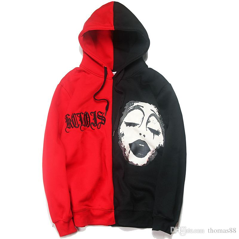 shop for top-rated latest 2019 discount sale 2019 Wholesale Men Women Fashion Autumn Clown Printed Hoodie Black Red  Contrast Color Splice Sweatshirts Hip Hop Streetwear From Thomas88, $39.28  | ...