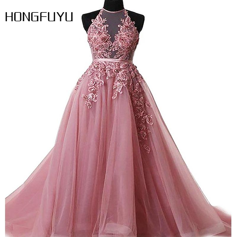 Colorful Charming Sexy Sleeveless Tulle A Line Long Prom Dresses 2018 Halter Lace Up Appliques Floor Length Prom Dress HFY914 C18111601