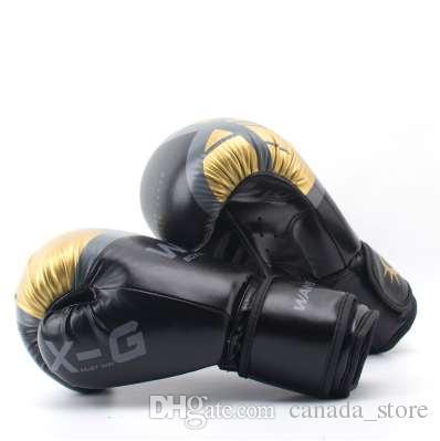 Haute Qualité Adultes Femmes / Hommes Boxe Gants En Cuir MMA Muay Thai Boxe De Luva Mitaines Sanda Équipements8 10 12 6OZ