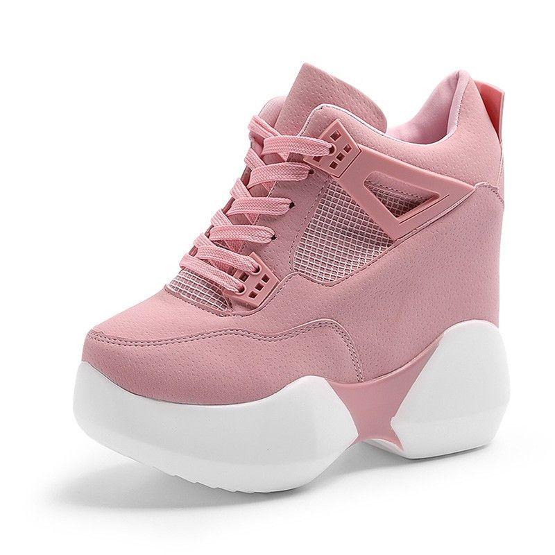 Sapatos de Plataforma Alta das mulheres 2017 Respirável PU Sapatos Mulheres Altura Aumento Sapatos 12 CM Formadores Sola Grossa Senhoras rosa