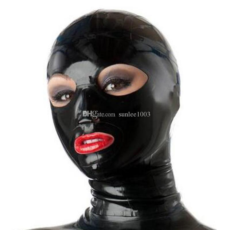 100% Pure Latex Hood for Catsuit Beautiful Girl Solid Color Rubber Fetish Mask Cosplay Party Wear Handmade Costumes