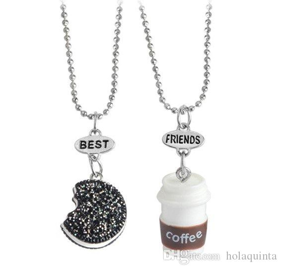Children Cute Pendant Necklace BFF Best Friend Forever Biscuit Coffee Cup Pendant Necklaces for Baby Girl Boy
