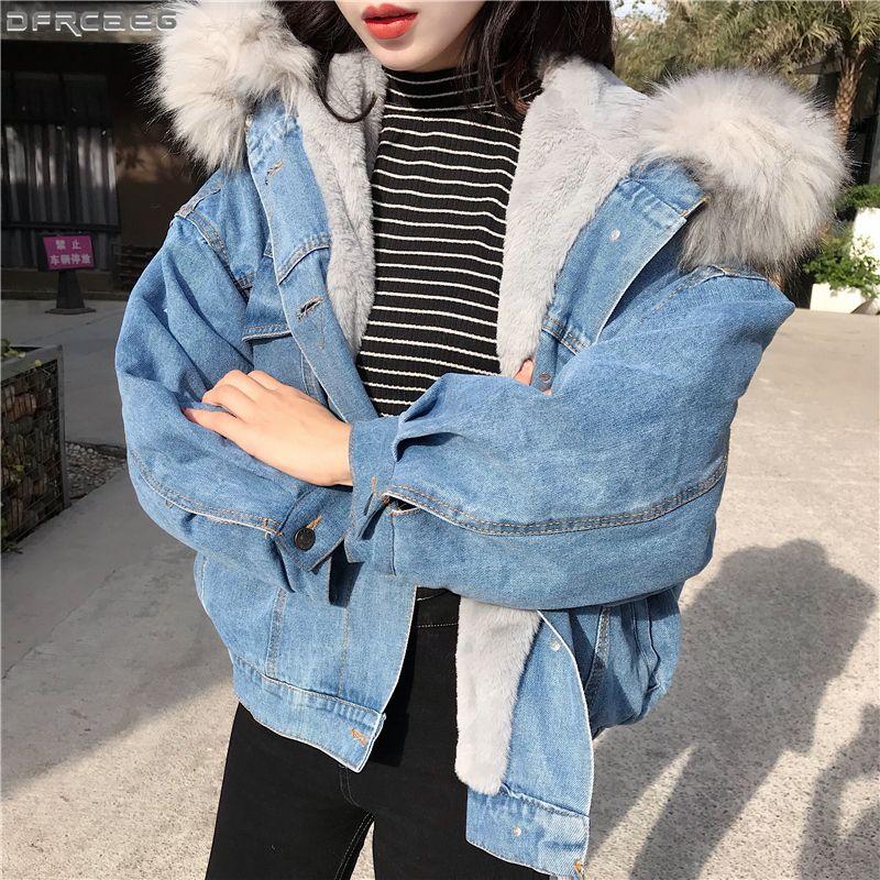 Big Faux Fur Collar Jaqueta de Inverno Mulheres de Grandes Dimensões Batwing Manga Denim Jaquetas De Lã Forro de Jeans Casaco de Veludo Quente Jaqueta Hoodies S1031