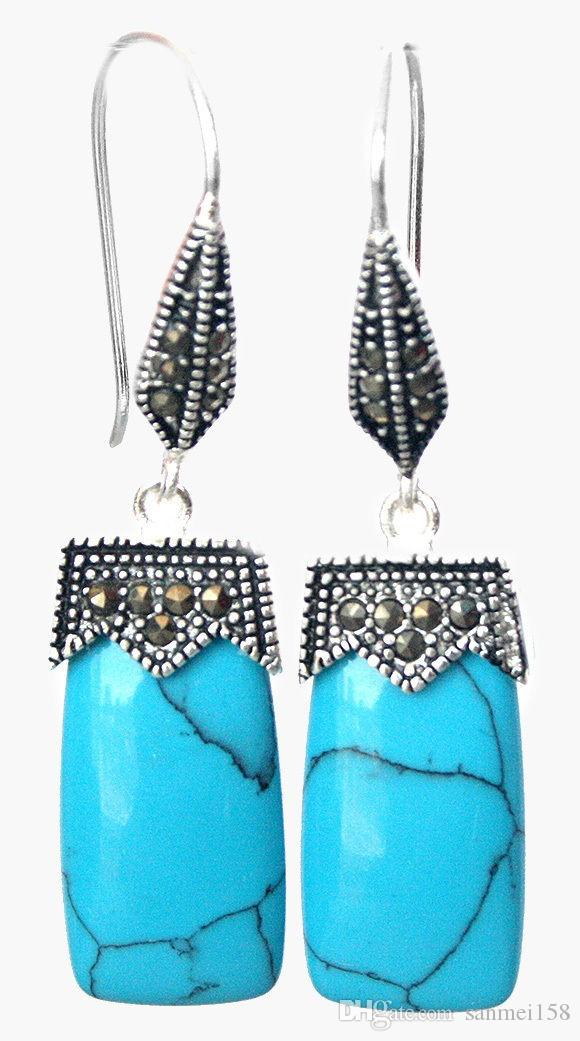 """fashion jewelry Natural Stone 925 silver & macasite earrings 2"""" Lady's Natural Stone Ball Earring DANGLE EARRINGS"""