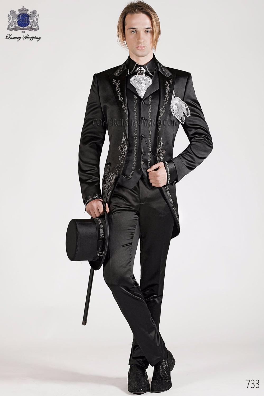 2017 Son Pantolon Ceket Tasarımları Siyah Nakış Saten Erkekler Suit İtalyan Balo Suits Slim Fit 3 Parça Smokin Özel Terno Masculino