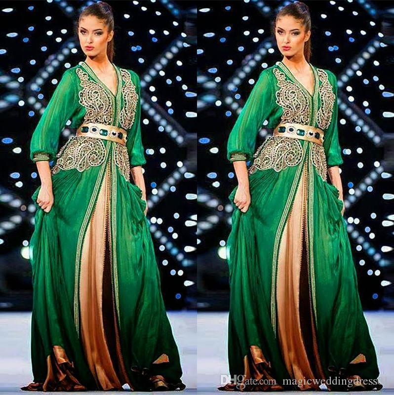 2018 Kaftan musulman Dubaï manches longues robes de soirée verte avec col en V manches longues doré dentelle tapis rouge longue robe de soirée formelle