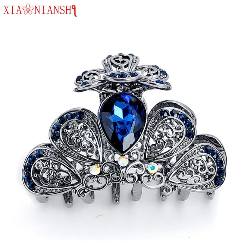 Fashion Wedding Jewelry Women Vintage hairpins Crab hair claw clip Retro Big Crystal Butterfly Headband Girls Hair Accessories S918