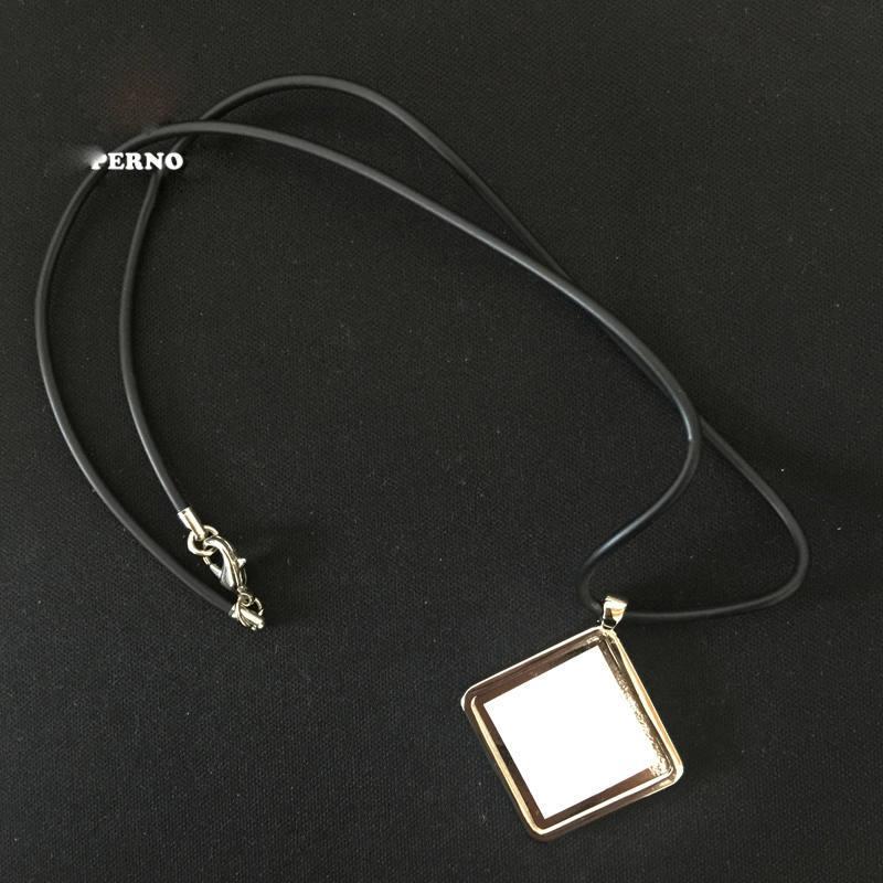 Raute leere Halskette Anhänger für Sublimation Rechteck Quadrat leere Halsketten Anhänger für Wärmeübertragung Fabrik Großhandelspreis