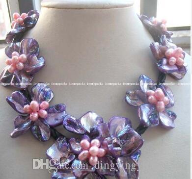 """Livraison gratuite en gros belle perle d'eau douce pourpre 40-60 mm mer coquille fleur 18.5 """"collier"""