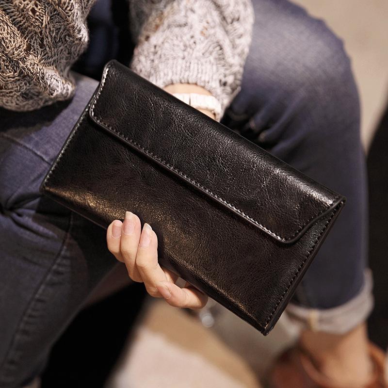 New leather long purse female girls simple slim flip envelope wallet wholesale