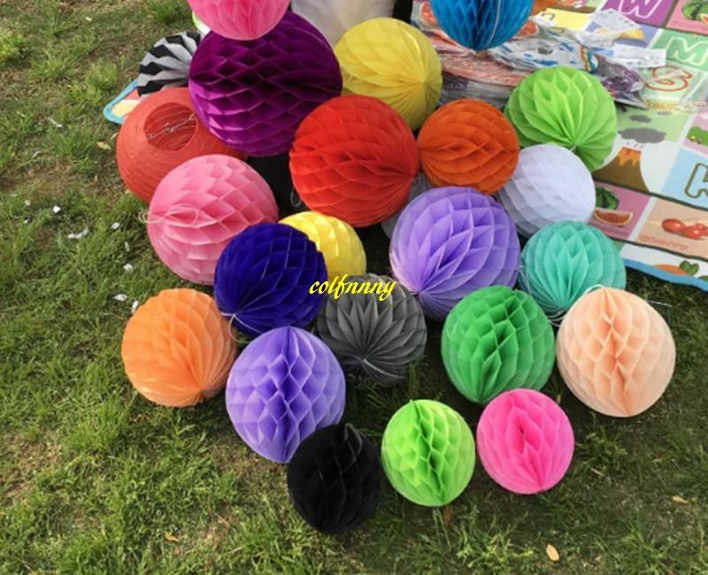 20 pcs / lot 15 cm 20 cm 25 cm 30 cm 35 cm fleurs en papier de soie boules nid d'abeilles pour la décoration de fête de mariage