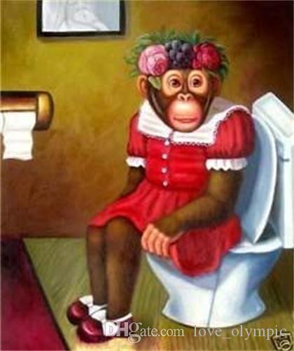 """Lotes al por mayor, """"Lovely Monkey"""" pintura al óleo del arte moderno de animales pintados a mano, decoración de la pared del hogar calidad de la lona tamaño puede ser personalizado R0017 #"""