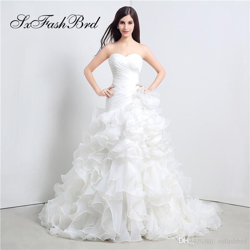 Элегантное Платье Рябить Возлюбленной Линии Органзы Длина Пола Длинные Свадьба Невесты Женщины Свадебные Платья Платье