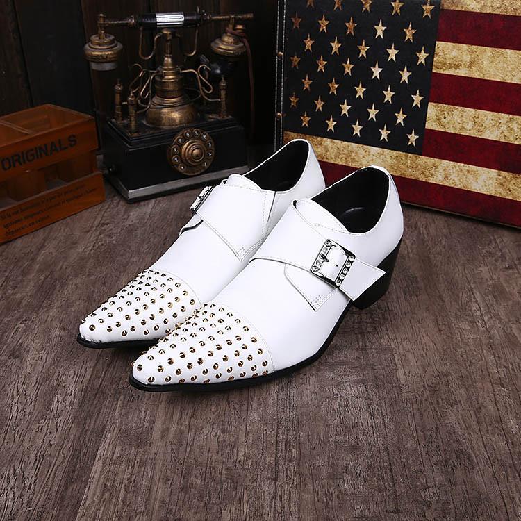 2018 Handmade Fashion dress Man Shoes Leather Classic uomo scarpe da sposa Bianco Business / Wedding Leather Shoe per uomo, EU38-46!