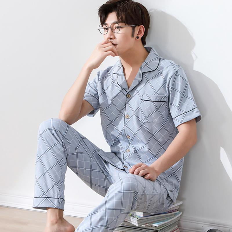 Verão 100% Algodão de Manga Curta Homens Listrado Pijama Set Cardigan Turn-down Collar Loose Lounge Homewear Roupas do Homem L-3XL