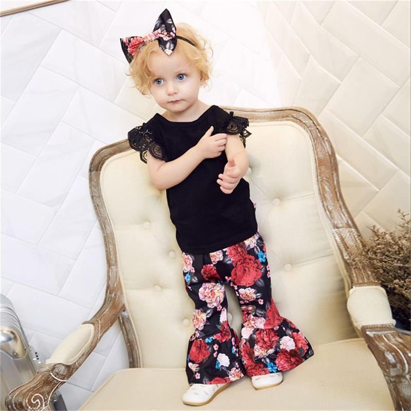 MIikrdoo 3 PCS Verão Da Criança Do Bebê Roupas de Menina roupas Rendas de Algodão Top Camisa + Ruffle Floral Calças + Headband Conjuntos de Roupas Casuais