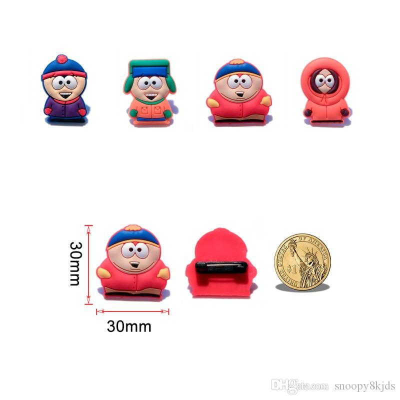 South Park Novely Cartoon Broches PVC Broches Creative Badges Fit pour Vêtements / Sac / Chapeau / Chaussures / Décoration de la maison Enfants Favoriser Cadeau de fête DIY Graft