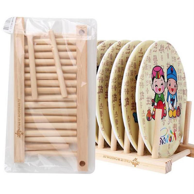 Natural Wood Folding Dish Drying Rack Pot Lid Flatware Holder Plate Display Holder Wooden Kitchen Storage Organizer Bookrack