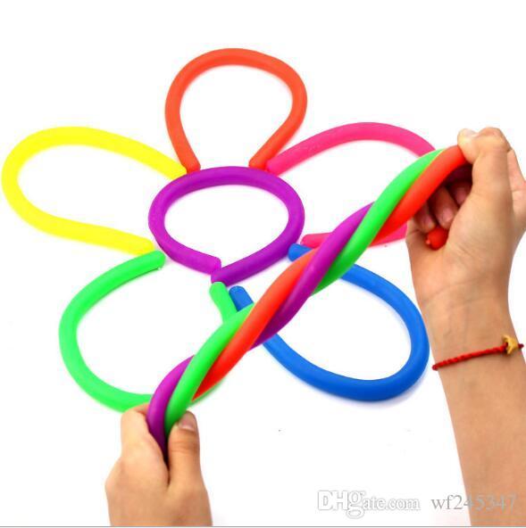 6 couleurs pour Choix Fidget Abrappe Decompression Corde Flexible Colle Nouilles Ropes TPR Hyperflex String String String Néon Élings Jouets