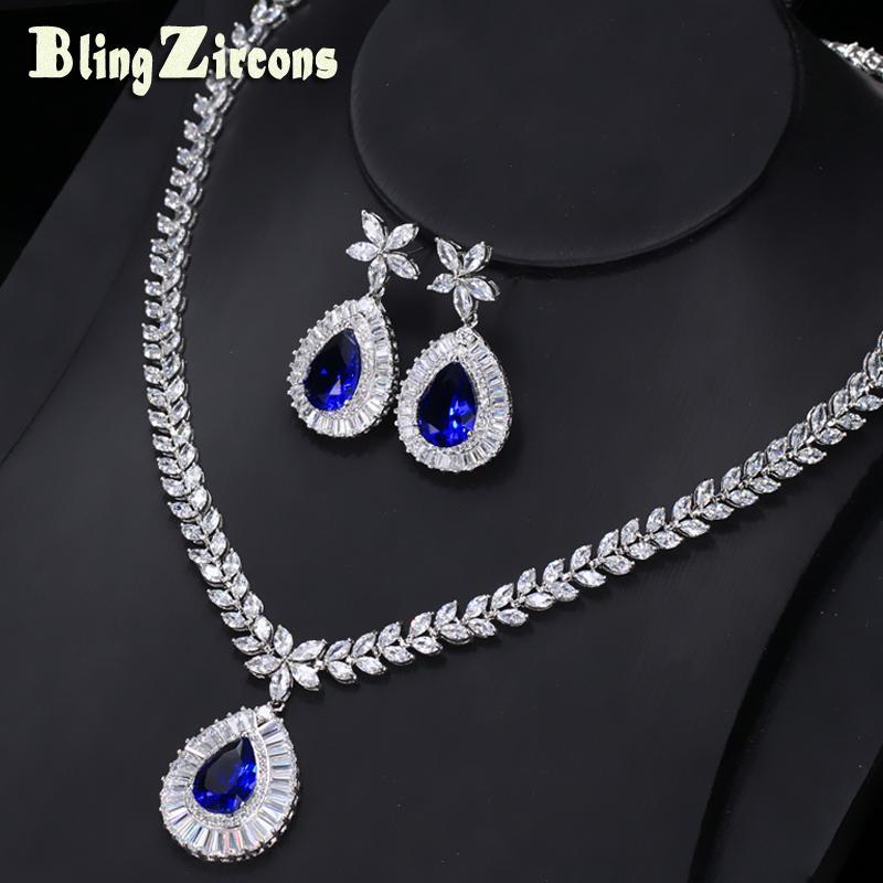 Tüm saleBlingZircons Yepyeni Büyük Su Damlası Kraliyet Mavi Zirkonya Taş Küpe Kolye Gelin Düğün Takı Setleri Kadınlar Için JS032