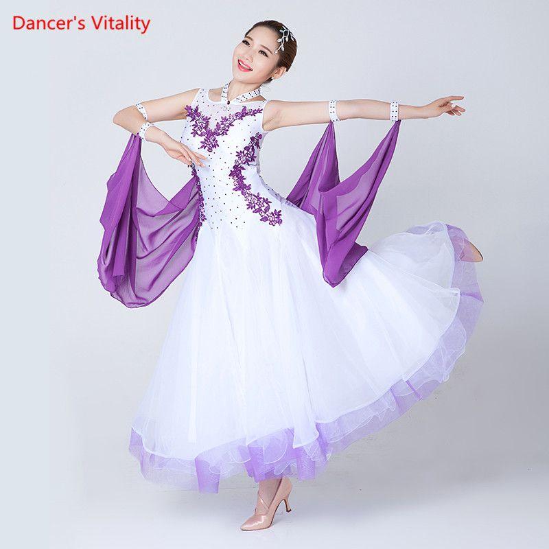 Professional Women's sleeveless Ballroom Dance Dresses Waltz Flamenco Tango Competition Standard black white Dress for Women