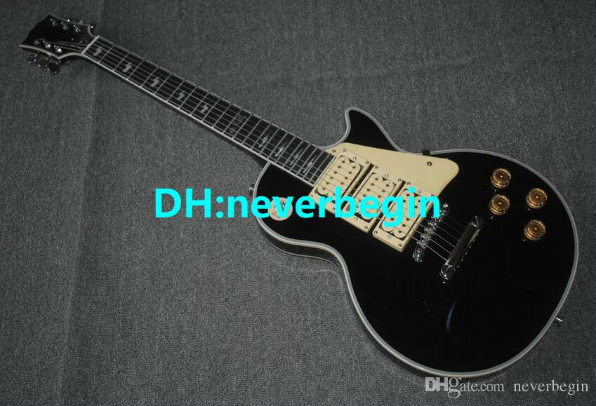 最高の高品質の熱い販売工場カスタムショップスタイルエースブラックギターハイ3ピックアップエレクトリックギター送料無料
