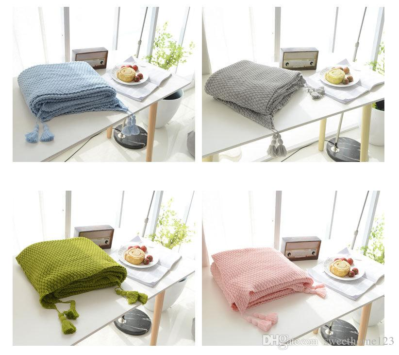 7 solid Color Tassels Cotton blanket Cotton Baby Newborn knitted Throw blanket sofa office bedroom Thread blanket