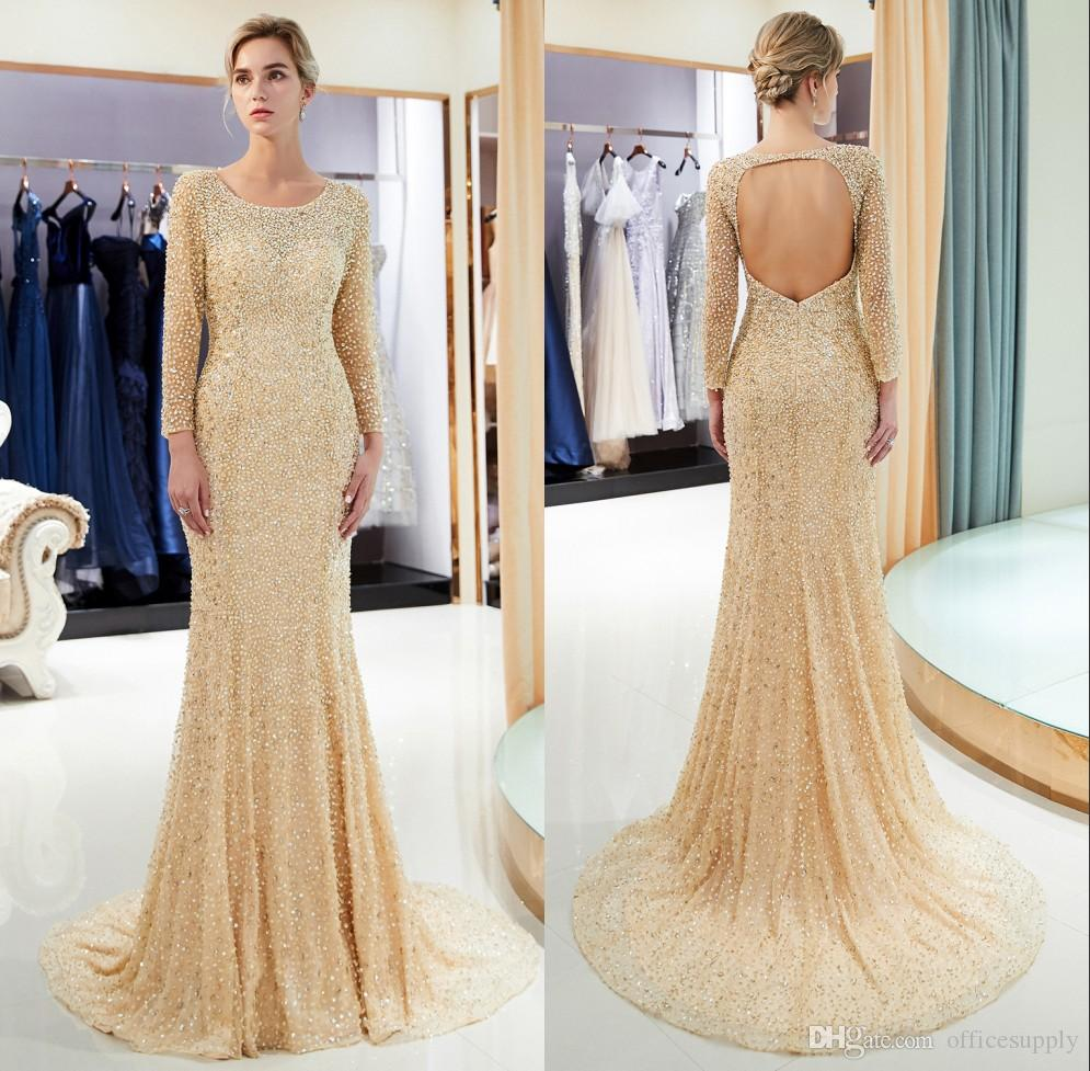 2019 Charming Gold Lavender Beads Prom Dresses Custom Mermaid Long Sleeves Heavy Lace Backless Women Formal Evening Mother Gowns