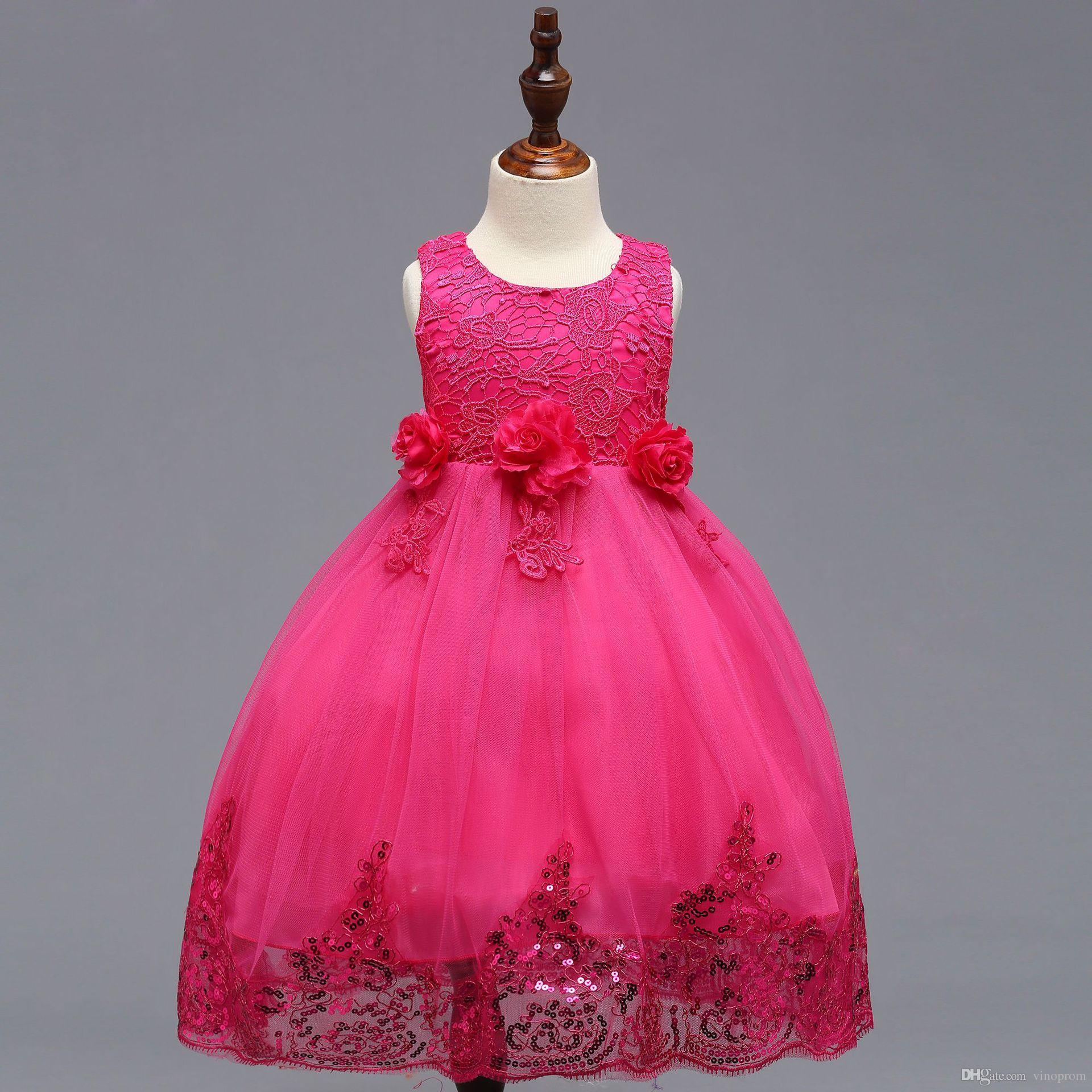 vestido de comunion 5 colori O-Collo motivo floreale Bow Bling paillettes principessa dei capretti ragazze di fiore del vestito da spettacolo del partito