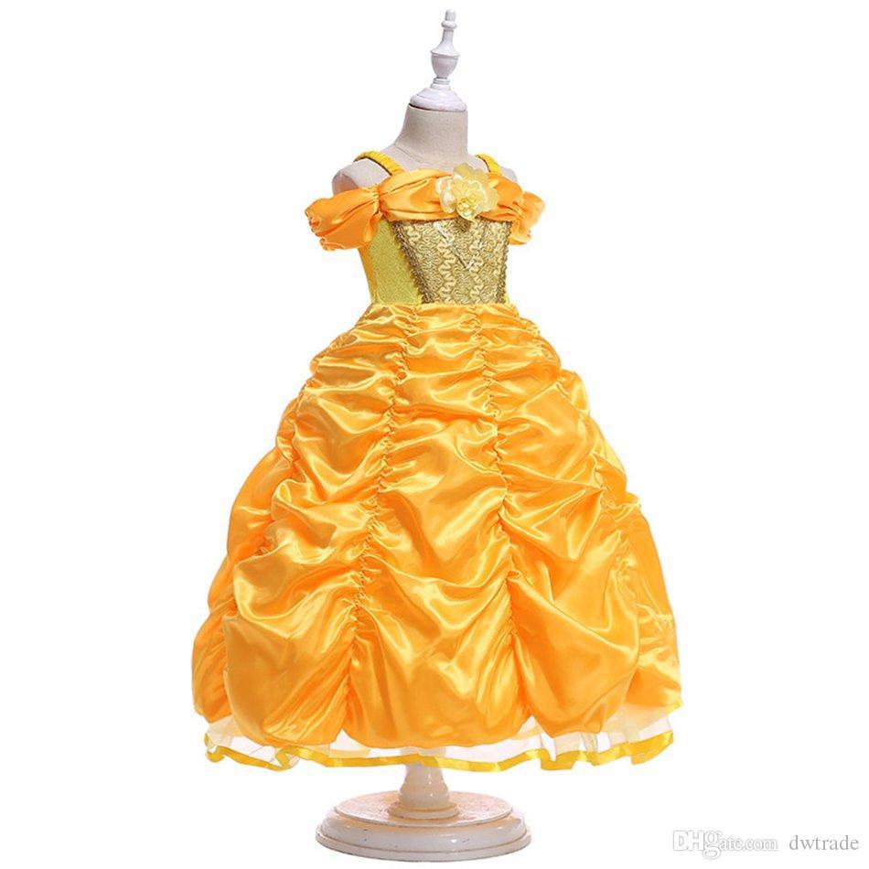 2017 Girl Princess Dress girls Costume princess Dress Condole Belt Peng Peng Sleeve Christmas Halloween Party Girl Cosplay Princess Dress