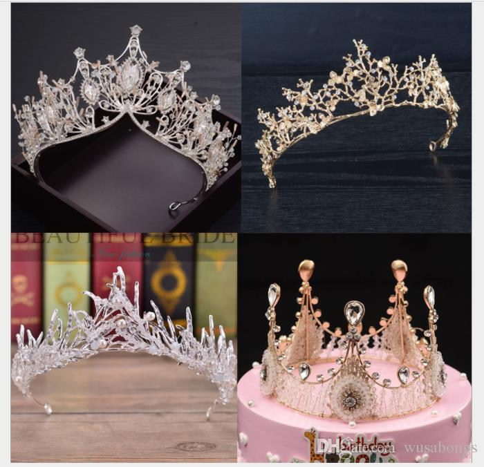 2018 New Handmade europeus e americanos noivas coroa decorações decorações do bolo assados ornamentos da coroa acessórios do casamento