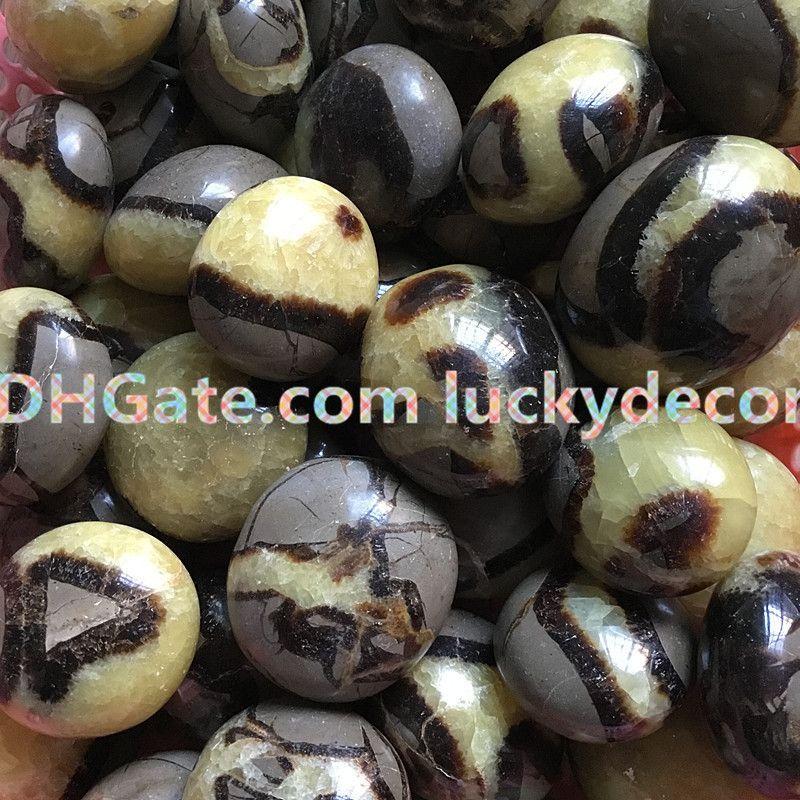 1Pc 35mm-60mm Freeform Natural Septarian Pocket Palm Stone Lucky Tumbled Saptaria Nodule Crystal Fossil Worry Stone Reiki Dragon Egg Stone
