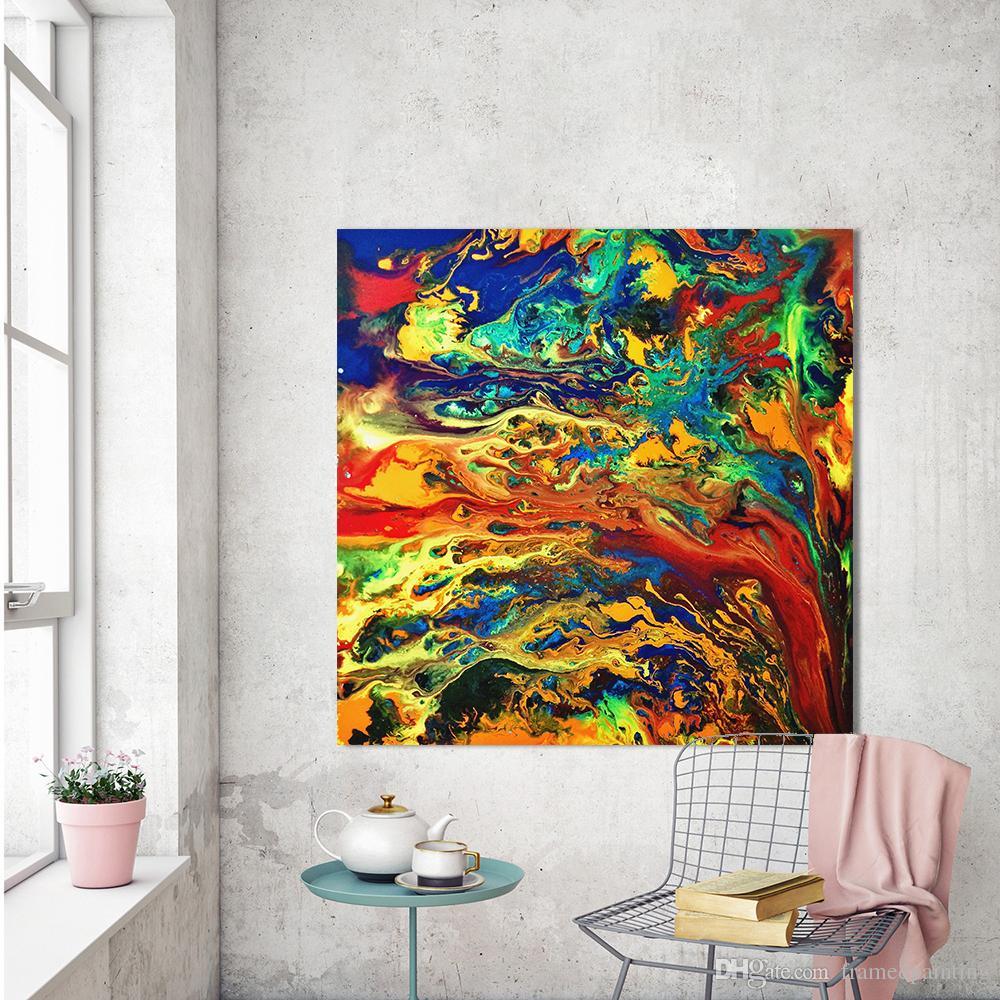 Großhandel Abstrakte Malerei Leinwand Kunst Expressionismus Bunte  Wandbilder Für Wohnzimmer Wohnkultur Drucke Kein Gestaltet Von  Framedpainting, ...