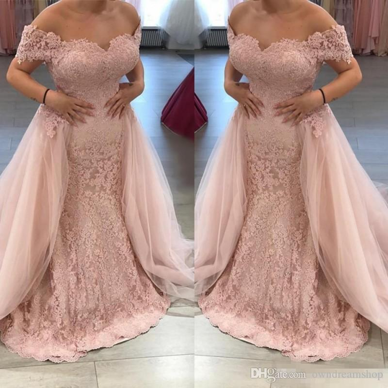 Vintage Off The Shoulder Long Mermaid Formal Evening Dresses With Detachable Train 2018 Plus Size Lace Appliqued Cheap Prom Party Gowns