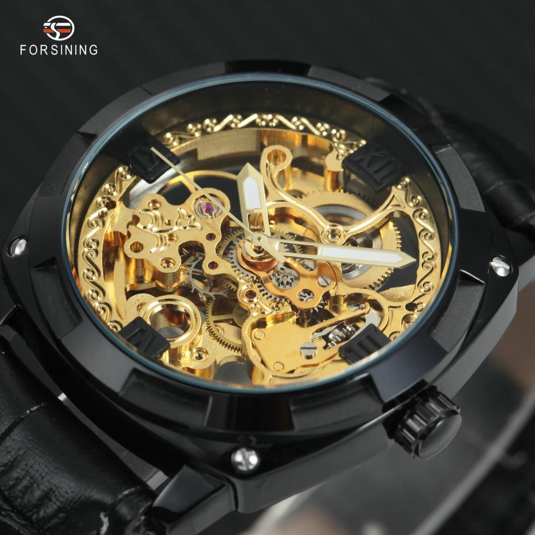 FORSINING automatische mechanische Armbanduhr Männer Art und Weise Lederband römische Ziffern Skeleton Transparent Dial-Mann-Uhr