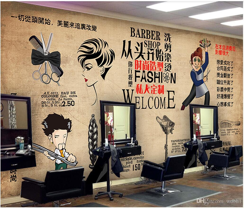 3d Wallpaper Custom Photo Retro Fashion Hairstyle Beauty Salon Barber Shop Background Wall Murals Wallpaper For Walls 3d Living Room Wallpaper Hd A