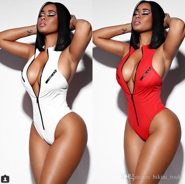 2018 verão nova praia corpo vermelho feminino zipper mulheres senhoras casual bodysuit collant decote em v sem encosto sexy magro partido macacão