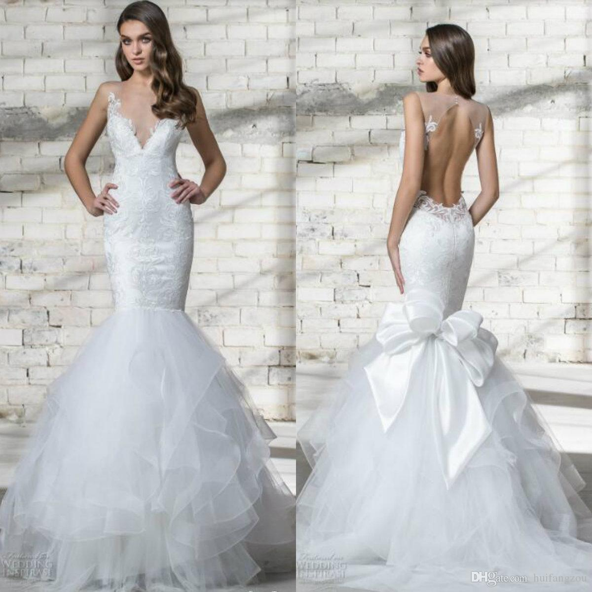 Vintage Mermaid Wedding Dress Pnina Tornai 2019 V Neck Sheer Straps Lace Applique Backless Bridal Gowns With Tiered Tulle Train